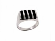 Men's Black Onyx Sterling Silver Ring/Plus Size Ring to Size 17