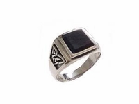 Men's Plus Size Ring- Sterling Silver Black Onyx Celtic