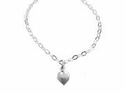 Plus Size Ankle Bracelet/Anklet-Sterling Silver Polished Heart