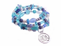Plus Size Bracelet Blue Spiral with Charm Style 5