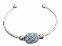 Plus Size Bracelet-Cape Cod Cuff Blue Crystal-7 to 8 Inch
