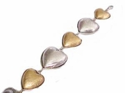 "Plus Size Bracelet Costume Hearts Gold and Silver-8"" to 9"""