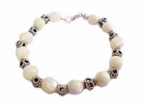 Plus Size Bracelet-Sterling and Mother of Pearl Beads-8-9 Inch