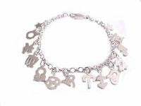 Plus Size Bracelet Sterling Silver Dangling Charms