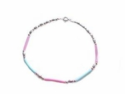 """Plus Size Bracelet-Sterling Silver Pink and Blue-8""""-9"""""""