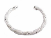 Plus Size Bracelet-Woman's Silver Plated Mesh Cuff 8 Inch