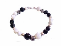 Plus Size Bracelet Women's Black Onyx and Mother of Pearl