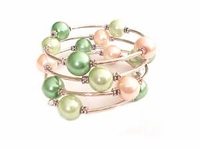 Plus Size Bracelet Women's Pink and Green Spiral