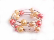 Plus Size Bracelet Womens Spiral Pink and Ivory