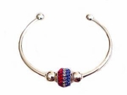 "Plus Size Bracelet Cape Cod Cuff 7 to 8"" and Patriotic Charm"
