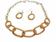 Plus Size Necklace and Earrings-Gold Tone Mesh