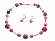 Plus Size Necklace and Earrings-Round Beads
