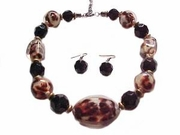 Plus Size Costume Necklace and Earrings Animal Print