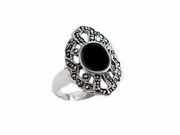 Plus Size Ring Onyx Marcasite Sterling Silver