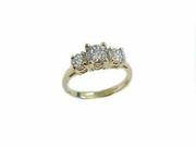 Plus Size Ring/Engagement Ring-14k Gold 3 Stone Cz-Size 13.5