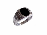 Plus Size Ring Men�s Stainless Steel Black Onyx