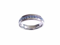Plus Size Ring Stainless Steel Blue Cz Size 11-12