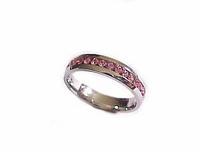Plus Size Ring Stainless Steel Pink Cz Size 10 to 12