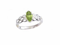 Plus Size Ring Sterling Silver Peridot Marquise