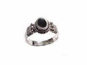 Plus Size Ring-Women's Sterling Silver Ring-Oval Black Onyx