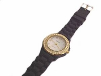 Plus Size Watch Black Strap Gold Face With Accents