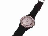 Plus Size Watch Black Strap Silver Face With Accents