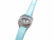 "Plus Size Watch-Blue Leather Strap (Style 101-BL) 6 1/2"" to 8 1/2"""