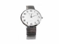 Plus Size Watch-Men's Stretch Easy Read Silver-Style 72