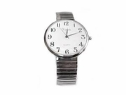 Plus Size Watch-Men�s Stretch Easy Read Silver-Style 72