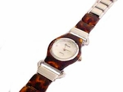 Plus Size Watch-Round Face Tortoise Shell-8 Inch
