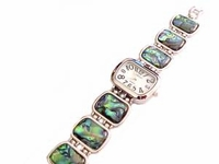 Plus Size Watch-Silver Tone Abalone 8 Inch-Style 2