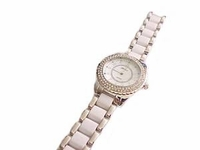 Plus Size Watch-Silver Tone White Sparkle 8 Inch-Style 2