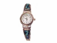 Plus Size Watch-Stretch Silver Tone Abalone 8 Inch-Style 4