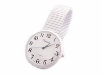 Plus Size Watch-White Stretch Large Face
