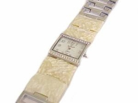 Plus Size Watch- Wide Band Cream Shell-8 Inch