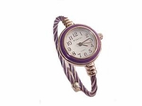 Plus Size Watch Women's Cable Wrap-Purple and Silver