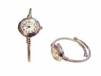 Plus Size Watch Women's Cable Wrap-Silver Tone