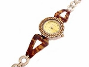 Plus Size Watch Womens Tortoise and Amber Crystal Face-8 Inch