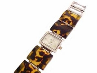 Plus Size Watch-Wide Band Tortoise Shell-8 Inch