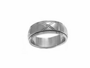 Plus Size Worry Ring or Spinner Stainless Steel Brushed Ex