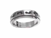 Stainless Steel Spinner Ring/Worry Ring-Footprints -Men/Women
