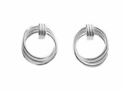 Sterling Silver Earrings-Triple Swirl