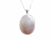 Sterling Silver Necklace-Large Mother of Pearl-Plus Size