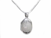 Sterling Silver Necklace Oval Locket-Long Plus Size Chain