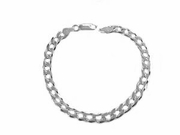 "Sterling Silver Plus Size Bracelet-9"" Curb Style 180"