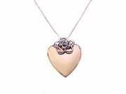 Women's 14k Gold Necklace/Gold Heart Locket-Cz & Chain