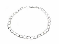 Women�s Plus Size Bracelet-Sterling Silver Plain Link
