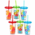 Acrylic Tumblers with Lid, Staw & Cubes (Set/6)