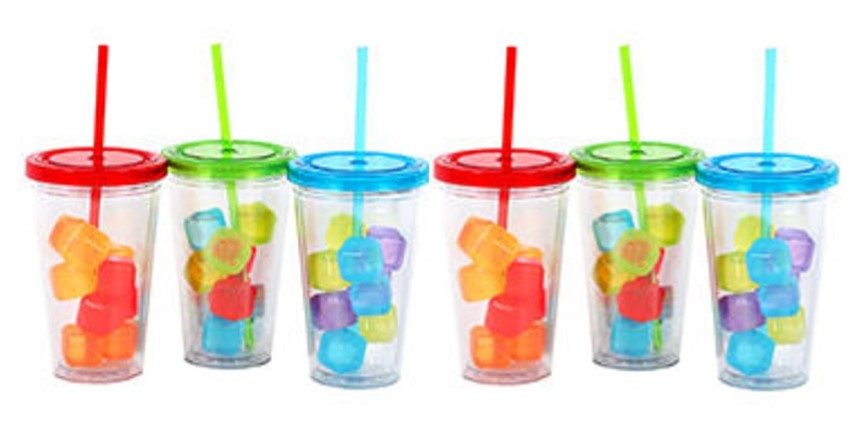 Tumblers with Lid, Staw & Cubes Set/6 (2 of Each Colorway)