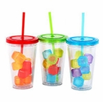 Acrylic 18 Oz. Tumblers with Lids, Staws & Ice Cubes - Set/3